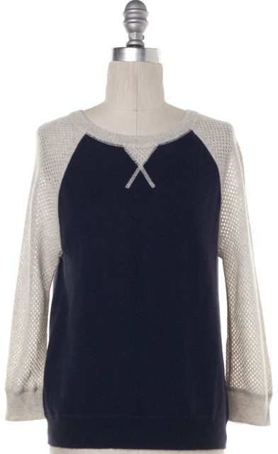AUTUMN CASHMERE Blue with Open Knit Gray Sleeve Cashmere Sweater Top