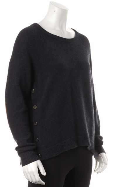 AUTUMN CASHMERE Navy Cashmere Leather Patch Side Buttons Crewneck Sweater