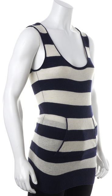 AUTUMN CASHMERE Navy Blue Ivory Striped Cashmere Sleeveless Knit Tank Top