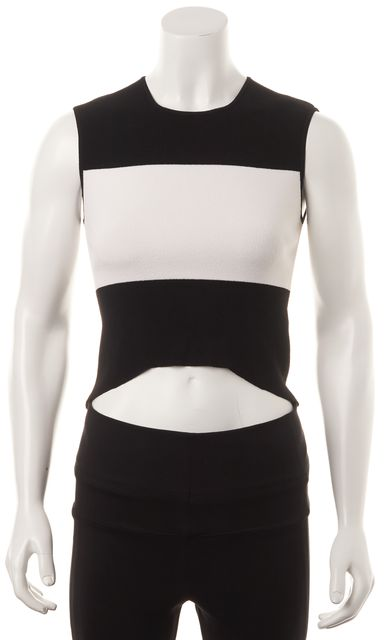 AUTUMN CASHMERE Black White Striped Cropped Tank Top