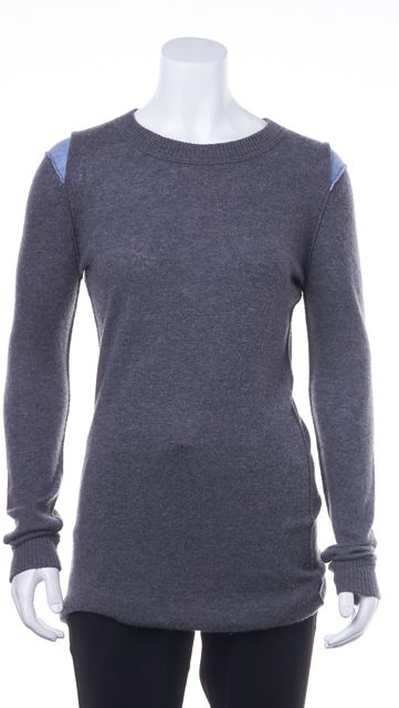 AUTUMN CASHMERE Charcoal Gray Blue Cashmere Casual Crewneck Sweater