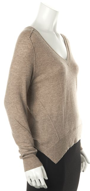 AUTUMN CASHMERE Beige Cashmere Casual Deep V-Neck Thin Knit Sweater