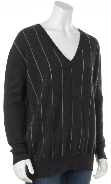 AUTUMN CASHMERE Gray Striped Cashmere V-Neck Long Sleeve Sweater