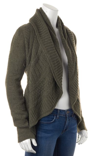 AUTUMN CASHMERE Olive Green Cashmere Chunky Cable Knit Cardigan Sweater