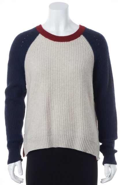 AUTUMN CASHMERE Gray Navy Red Colorblock Cashmere Side Zip Crewneck Sweater