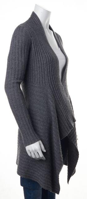 AUTUMN CASHMERE Gray Rib Knit Cashmere Cardigan