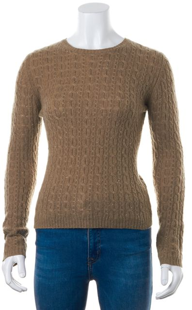 AUTUMN CASHMERE Brown Speckled Cable Knit Long Sleeve Crewneck Sweater