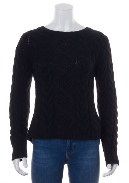 AUTUMN CASHMERE Black Chunky Cable Knit Cashmere Pleated Crewneck Sweater