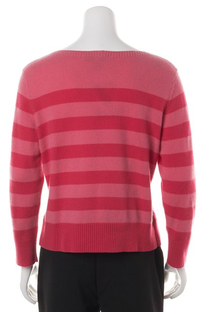 AUTUMN CASHMERE Pink Striped Cashmere Long Sleeve Boat Neck Sweater
