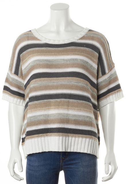AUTUMN CASHMERE Beige Gray White Striped Short Sleeve Crewneck Sweater
