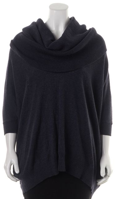 AUTUMN CASHMERE Gray 100% Cashmere Cowl Neck Draped Oversize Hoodie Sweater