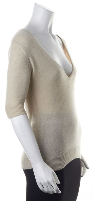 AUTUMN CASHMERE Beige Cashmere Knit V-Neck Top