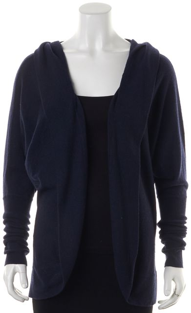 AUTUMN CASHMERE Navy Blue Cashmere Buttonless Cardigan Sweater