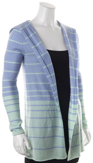 AUTUMN CASHMERE Blue Green Striped Hooded Open Drape Cashmere Cardigan