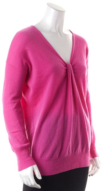 AUTUMN CASHMERE Pink Cashmere Long Sleeve Knot Front V-Neck Sweater