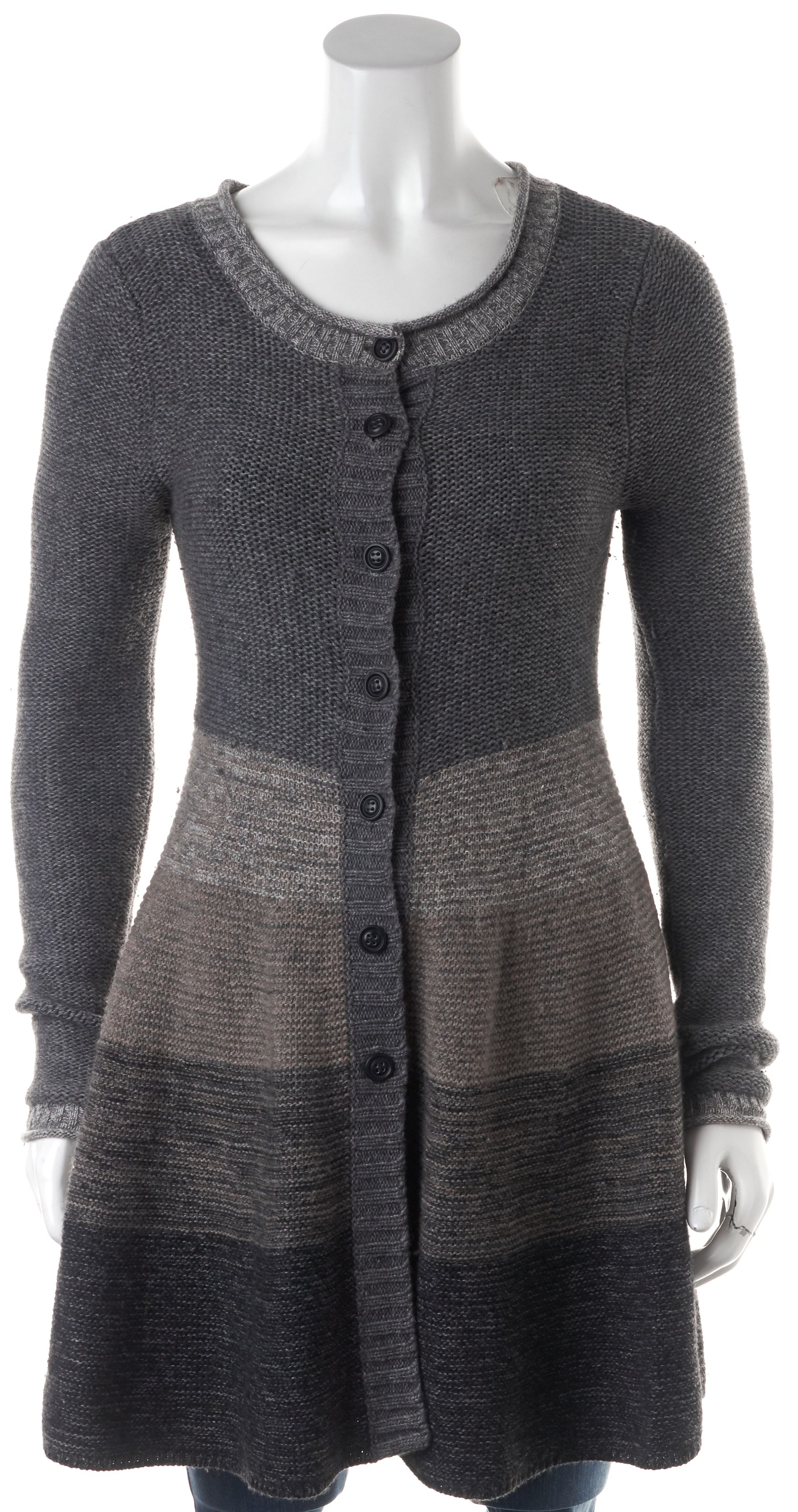Autumn Cashmere Gray Brown Striped Button Down Cashmere Cardigan ...