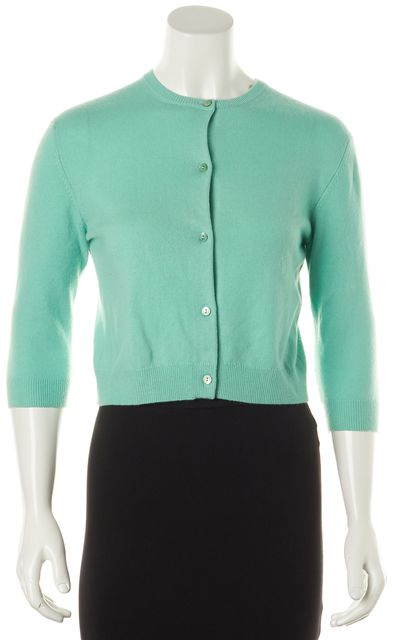 AUTUMN CASHMERE Teal Green Cashmere Button Front Cropped Cardigan