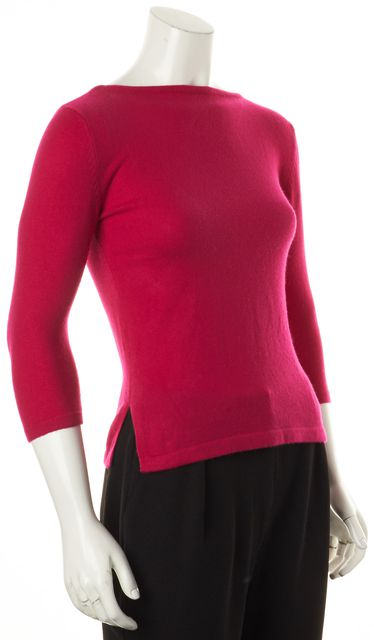 AUTUMN CASHMERE Pink Cashmere 3/4 Sleeve Boat Neck Sweater