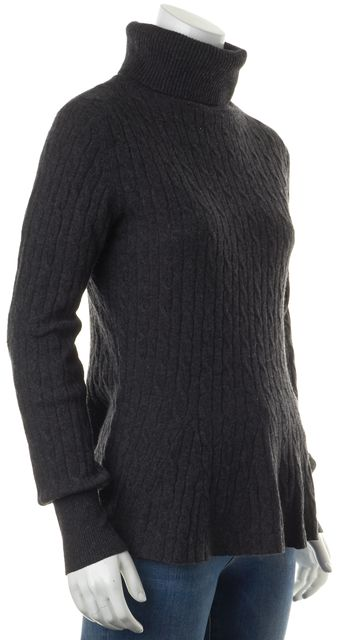 AUTUMN CASHMERE Gray Ribbed Cashmere Turtleneck Sweater