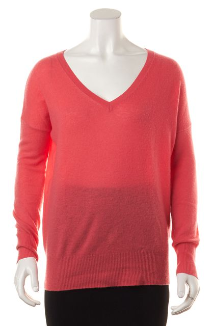 AUTUMN CASHMERE Pink 100% Cashmere Long Sleeve V-Neck Sweater
