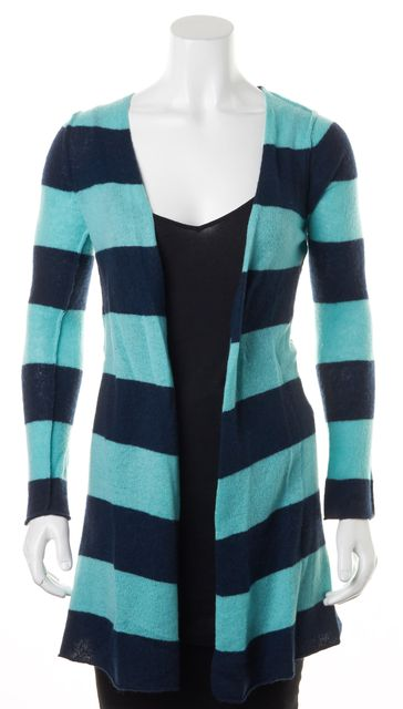 AUTUMN CASHMERE Blue Turquoise Striped Cashmere Long Open Cardigan