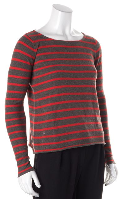 AUTUMN CASHMERE Gray Red Striped Cashmere Boat Neck Sweater