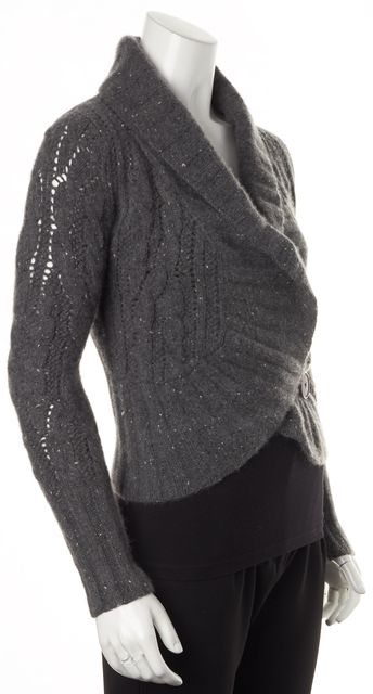 AUTUMN CASHMERE Gray Chunky Knit Cashmere Open Cardigan