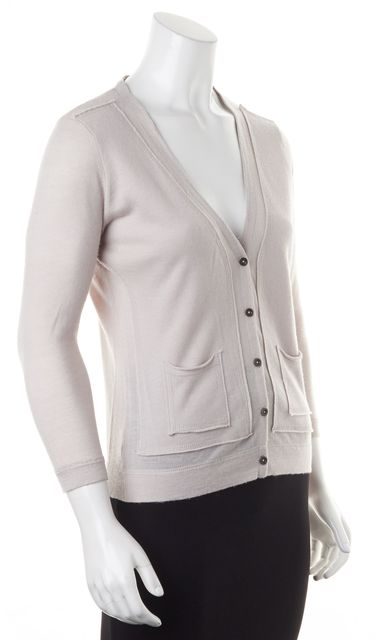AUTUMN CASHMERE Gray Beige Thin Knit Cashmere Cardigan Sweater
