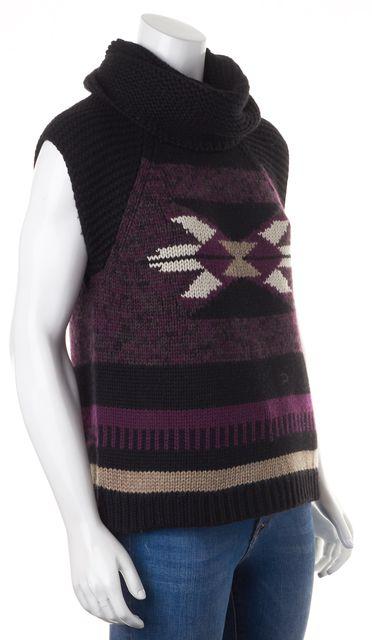 AUTUMN CASHMERE Black Purple Chunky Knit Cashmere Wool Turtleneck Sweater