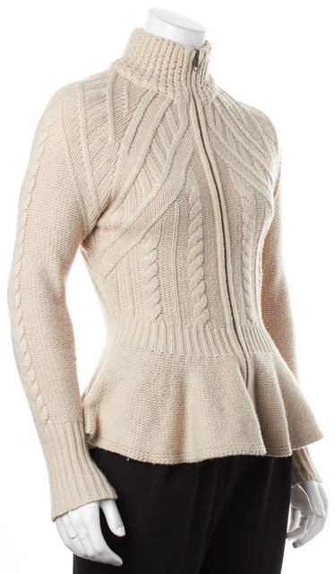 AUTUMN CASHMERE Beige Chunky Knit Cashmere Peplum Zip Up Cardigan Sweater