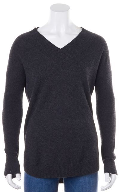 AUTUMN CASHMERE Dark Gray Cashmere Light V-Neck Sweater