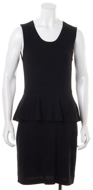 AUTUMN CASHMERE Black Cashmere Knit Patent Zip Back Peplum Sheath Dress