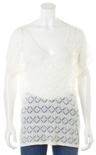 AUTUMN CASHMERE White Short Sleeve Sheer Pointelle Knit Top Blouse