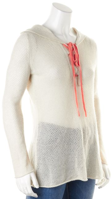 AUTUMN CASHMERE Gray Perforated Cashmere Hooded Sweater