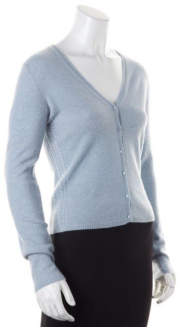 AUTUMN CASHMERE Light Blue Cashmere Knit Cardigan