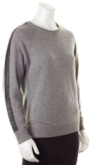 AUTUMN CASHMERE Gray Cashmere Leather Trim Crewneck Sweater