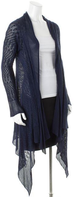 AUTUMN CASHMERE Dark Navy Blue Geometric Knit Open Cardigan