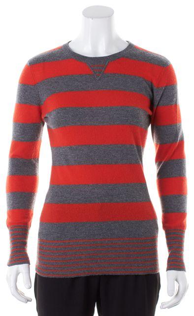 AUTUMN CASHMERE Gray Orange Striped Cashmere Crewneck Sweater