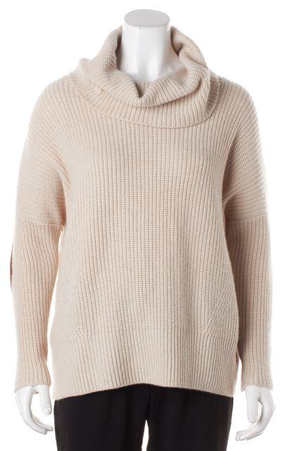 AUTUMN CASHMERE Beige Cashmere Leather Trim Turtleneck Sweater