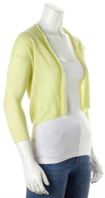 AUTUMN CASHMERE Yellow Cashmere Cropped Knit Waterfall Cardigan Sweater