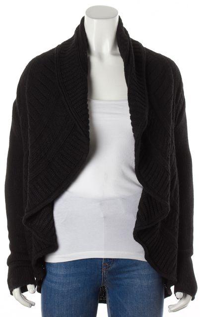 AUTUMN CASHMERE Black Cashmere Wool Knit Waterfall Cardigan Sweater