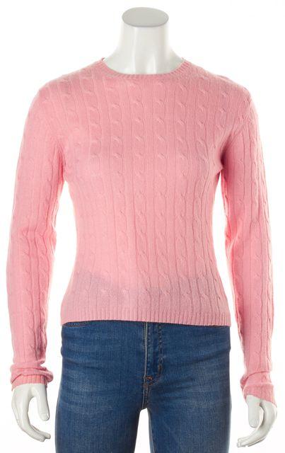 AUTUMN CASHMERE Pink Cashmere Cable Knit Crewneck Sweater