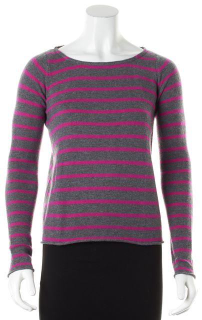 AUTUMN CASHMERE Gray Striped Cashmere Knit Crewneck Sweater
