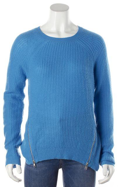 AUTUMN CASHMERE Blue Cashmere Zipper Detail Knit Crewneck Sweater