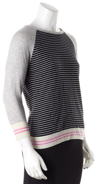 AUTUMN CASHMERE Gray Striped Cashmere Zip Back Crewneck Sweater