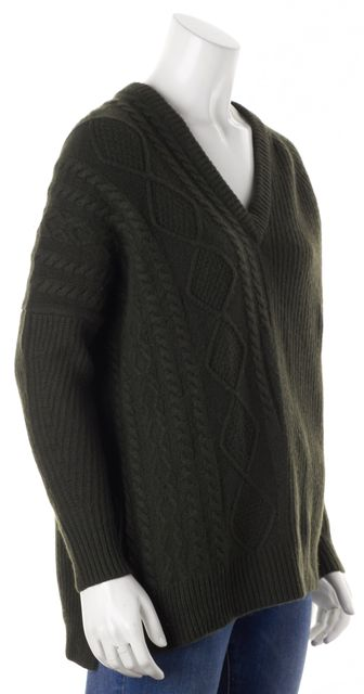 AUTUMN CASHMERE Green Cashmere Chunky Cable Ribbed Knit V-Neck Sweater