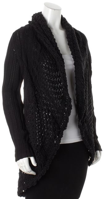 AUTUMN CASHMERE Black Floral Embroidered Cardigan Sweater
