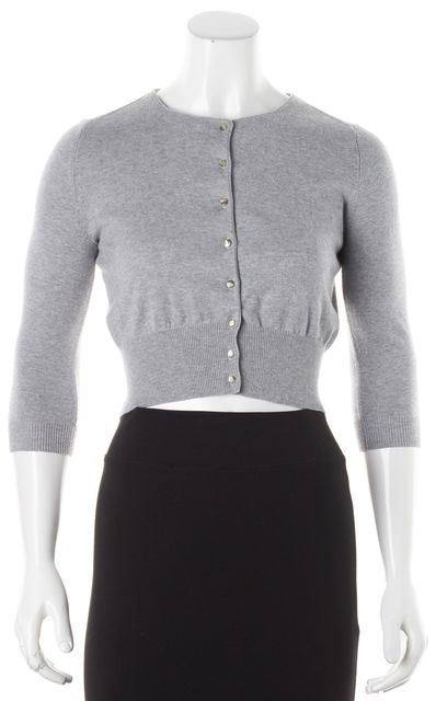 AUTUMN CASHMERE Gray Cropped Sweater Button Up Cardigan