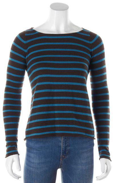 AUTUMN CASHMERE Brown Blue Striped Cashmere Crewneck Sweater