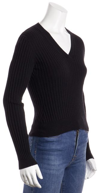 AUTUMN CASHMERE Black Ribbed Cashmere V-Neck Sweater